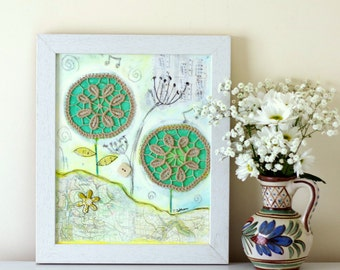 Whimsical Painting, Folk Art, Rustic Style Artwork, Framed Shabby Chic Painting, Doily Art, Mixed Media Painting