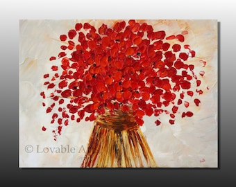 "ORIGINAL red flower Abstract landscape painting 24"" red floral Vase Modern Art Contemporary Palette Knife textured brown Artwork- Beautiful"
