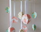 Baby Mobile/ Modern Chic Crib Mobile/ Fabric Circles - Gold, Pink, Mint
