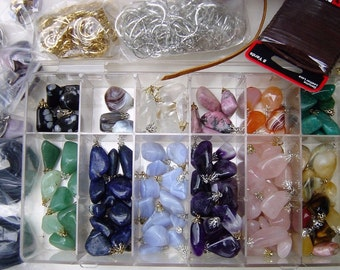 Lot of Jewelry Findings, Polished Rocks, Tumbled Stones, Gemstones,