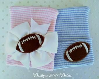 Football Newborn Hospital Hat -newborn hat- newborn football hat-baby football hat-newborn football hat