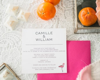 CAMILLE SUITE || wedding invitation, rsvp, Palm springs, flamingo, tropical,  simple sophistication