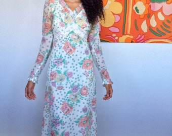 1970's Floral, Lace and Ruffle Detailed Maxi Gown