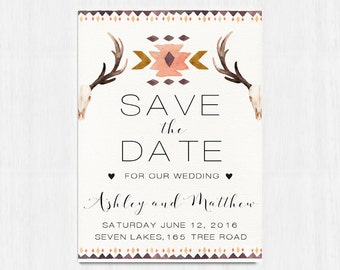 Printable Save the date, Ethnic Save the date, Wedding printables, Bull skull save the date, Boho Save the date, Bohemian wedding Horn invit