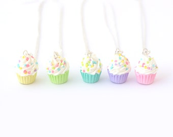 Pastel cupcake necklace, kawaii jewelry, polymer clay miniature food necklace, pastel jewelry