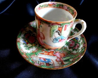 Chinese Antique Famille Rose Medallion Set Demitasse Cup and Saucer