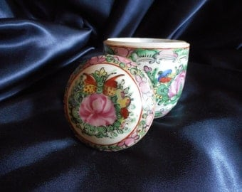 Chinese Antique Famille Rose // Lidded Jar // Pot // Tea Caddy