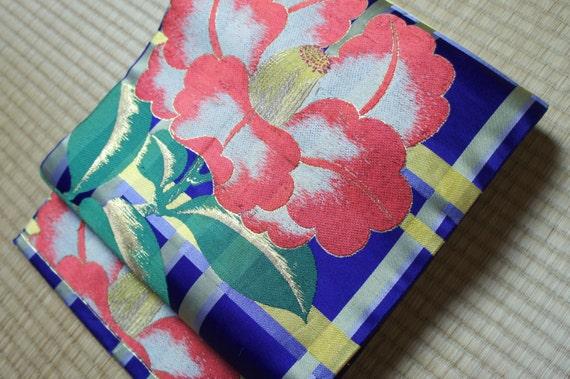 Japanese obi belt purple check with tsubaki, purple yellow Nagoya obi vintage silk obi belt, floral obi flower obi camellia embroidery check