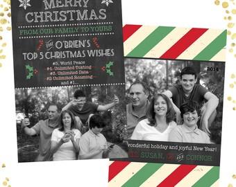 """Christmas Chalk Funny Photo Christmas Card -  5.5"""" X 8.5"""" Digital File"""