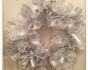 Silver White Wedding Deco Mesh Wreath/ Wedding Wreath/Silver Wreath/White Wreath/Wedding Deco Mesh Wreath