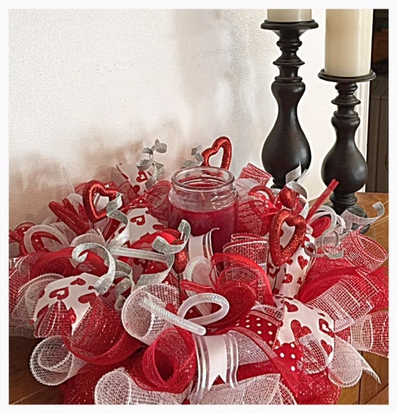 Valentine candle centerpiece red white and silver