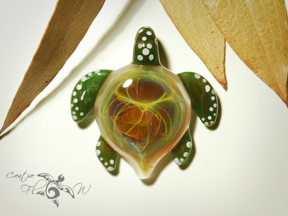 Sea Turtle Necklace Orange Glow - Galaxy Themed - Boro Pendant - Glass Turtle - Universe Shell - Blown Glass Turtle Jewelry - Free Shipping!