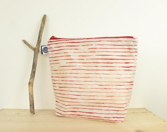 Large stripy was-bag in stripy red, made with hand prepared waxed canvas, screen printed by hand