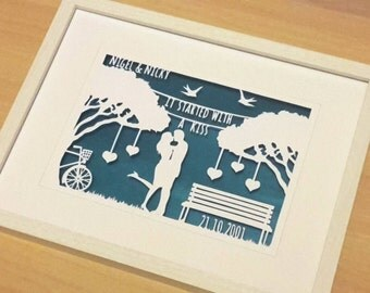 It started with a kiss papercut in a shadow box frame. Makes a great wedding or valentines gift