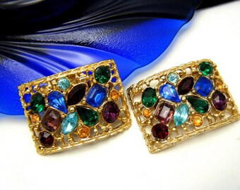 MUSI Vintage Shoe Clips Gorgeous Multi Color Rhinestones Gold Tone