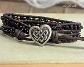 Wrapped Bracelet, Cherry Baltic Amber Bracelet, Celtic Heart Knot Button, Bohemian Bracelet