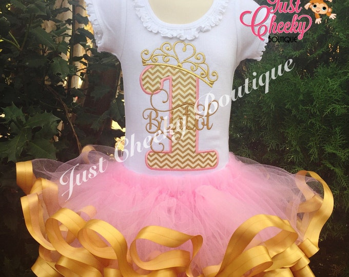 Custom First Birthday Pink and Gold Tutu Outfit - 1st Birthday - Pink and Gold - Birthday Outfit - Birthday Tutu - Smash Cake Outfit