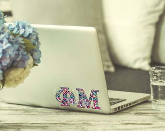 Phi Mu decal, Phi Mu sorority laptop sticker, Phi Mu keyboard or tablet decal Multiple sizes available, Indoor / Outdoor 3 year vinyl (1261)