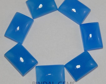 15 Pieces Lot Blue Chalcedony Octagon Shape Loose Smooth Polished Gemstone