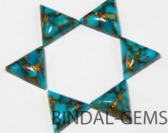 10 Pieces Blue Copper Turquoise Triangle Shape Loose Smooth Polished Gemstone