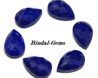10 Pieces Lot Fine Quality Natural Lapis Lazuli Pear Checker Cut Gemstone For Jewelry