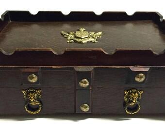 Vintage Wooden S Sper Bijou Castle Jewelry Box Treasure Chest with Brass Crest/Coat of Arms Medieval Renaissance