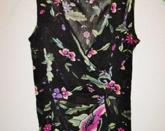 Vintage Vivienne Tam Sleeveless V-neck Floral Top - Size 0