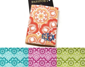 Gorgeous personalized floral medallion fabric passport case, cover, holder. Monogram travel gift. CHOOSE COLORS: Aqua,Berry, coral, green.