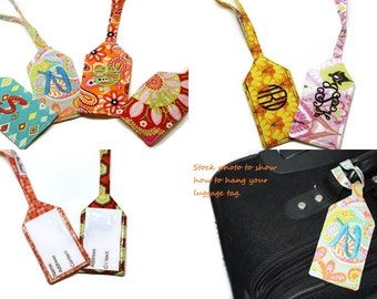 Custom personalized monogram fabric luggage tags. CHOOSE YOUR FABRICS! Monogrammed travel accessories. Travel gifts. Bridesmaids  gift idea.