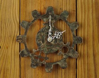 Bronze Steampunk Gear Wall Clock -  Industrial Gear Wall Clock