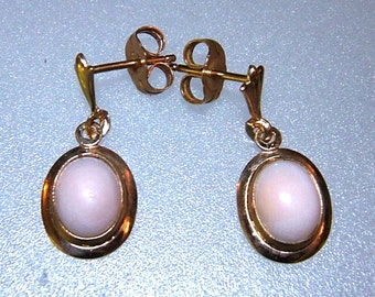 Coral Dangle Earrings Cabochon Angel Skin Yellow Gold 14kt