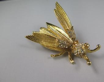 Hattie Carnegie Signed Large Trembler Bug Pin