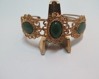 Jade and Gold Tone Cuff Bracelet