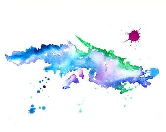 St Thomas Map - Print of watercolor map painting