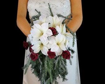 Cascading Wedding Bouquet, teardrop Bouquet, Christmas wedding bouquet, poinsettia wedding bouquet, bridal bouquet, Real Touch Bouquet,