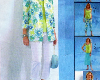McCall's 4844, Misses  Summer Clothing Sewing Pattern, Capri Pants, Jacket, Top, Pull On Skirt, Pants,  Sizes FF 16, 18, 20, 22, Uncut
