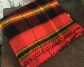 Retro Stadium Blanket Red Gold Black Plaid Acrylic New Never Used Stadium Blanket