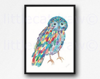 Owl Print Bird Print Colorful Happy Owl Bird Watercolor Painting Art Print Watercolour Wall Art Home Decor Bedroom Wall Decor Unframed