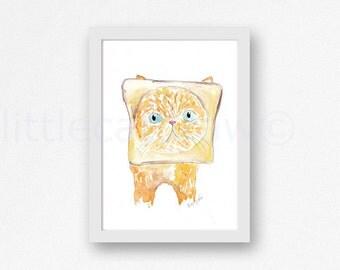 Toast Cat Bread Internet Meme Bread Loving Cat Print Watercolor Painting Art Print Illustration Art Watercolor Print Watercolour