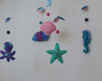 Sea Creature - Octopus - Fish - Seahorse - Starfish - Felt Baby Mobile