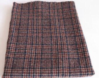 Felted Wool Fabric, Fat Quarter, Black/Rust/Tan Plaid