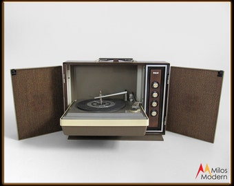 60s Mid Century RCA Solid State Portable Record Player Turntable Stereo NICE