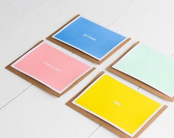Lot cartes postales typo format A6 sérigraphiée / vert rose bleu jaune pastels / enveloppe kraft / Je t'aime / Oh la la / Oui / C'est la vie