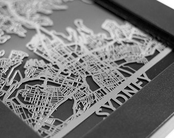 "Sydney Australia Stainless Steel Laser Cut Map - 5x7"" Framed 