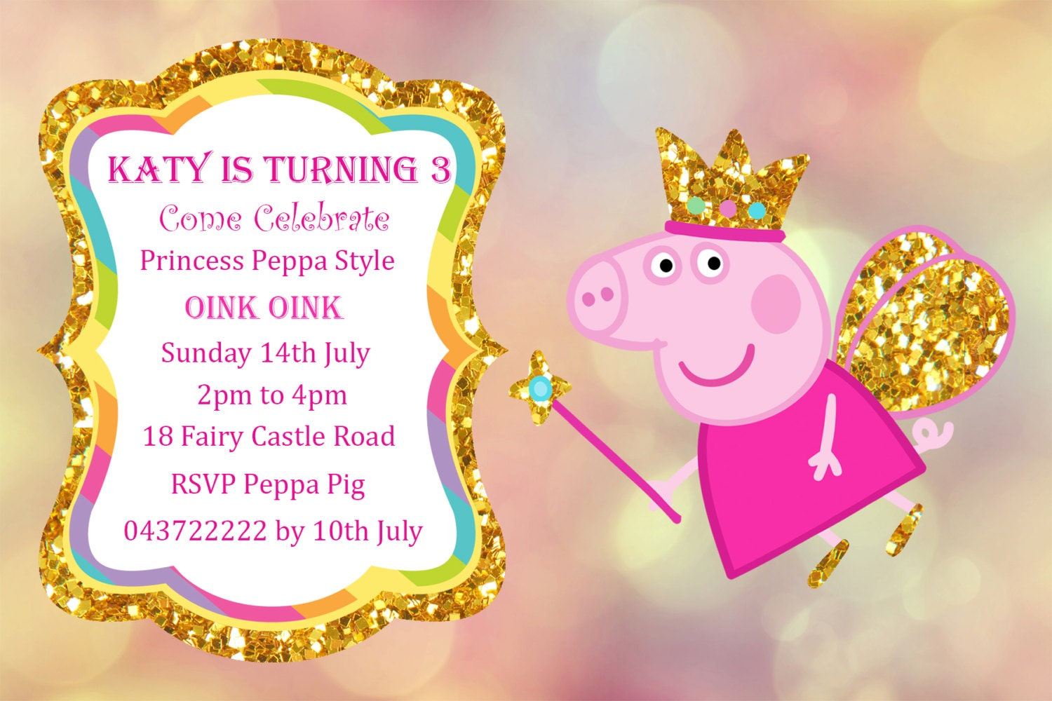 Peppa Pig Invitation Personalized Peppa Pig Printable