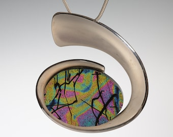 Dichroic Glass in Large Sterling Silver over Copper Setting