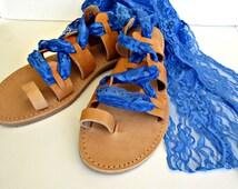 Greek leather lace up sandals, Something blue sandals, Bridal shoes, Gladiator sandals, Wedding flats,Blue lace sandals, Bridesmaids sandals