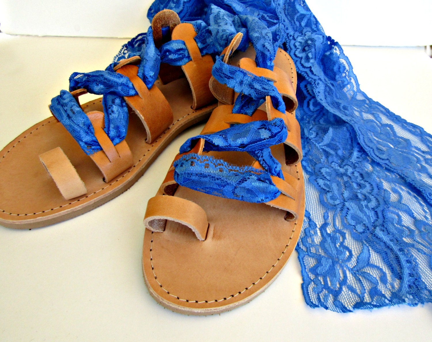 Greek Leather Lace Up Sandals Something Blue Sandals Bridal