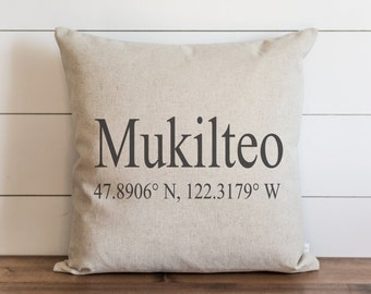 Coordinates 20 x 20 Pillow Cover // Location // Housewarming Gift // Wedding  // Throw Pillow // Cushion Cover // Accent Pillow