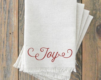 Joy Napkin_Christmas, table setting, tableware, place setting, housewarming gift, party, dinner, event